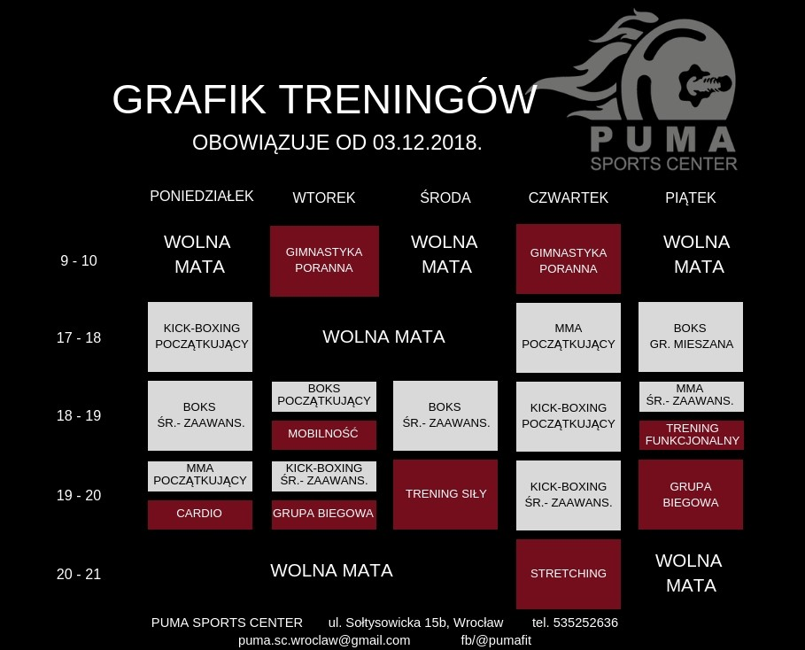 Grafik treningów w Puma Sports Center